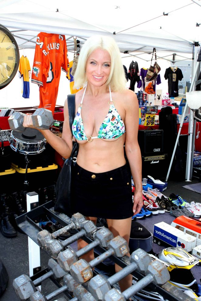 Sara Barrett in Bikini Top at Foothill Swap meet in Glendora