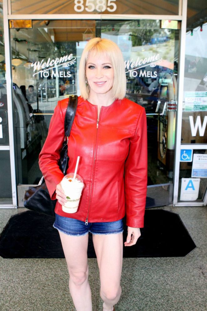 Sara Barrett in Red Leather Jacket - Leaves Mel's Diner in West Hollywood