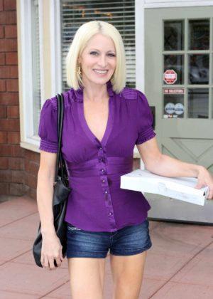 Sara Barrett Leaving Petrillo's pizza restaurant in San Gabriel
