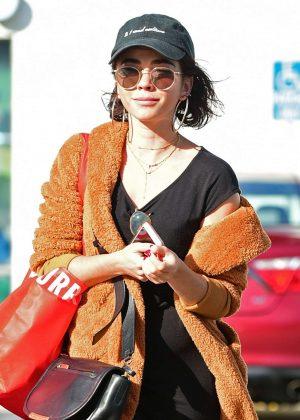 Sara Hyland in Black Dress - Shopping in Los Angeles