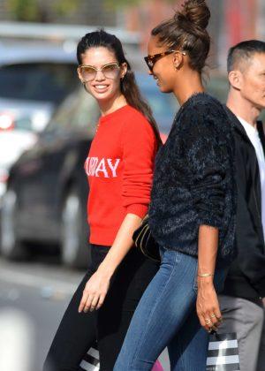 Sara Sampaio and Jasmine Tookes - Shopping in New York City