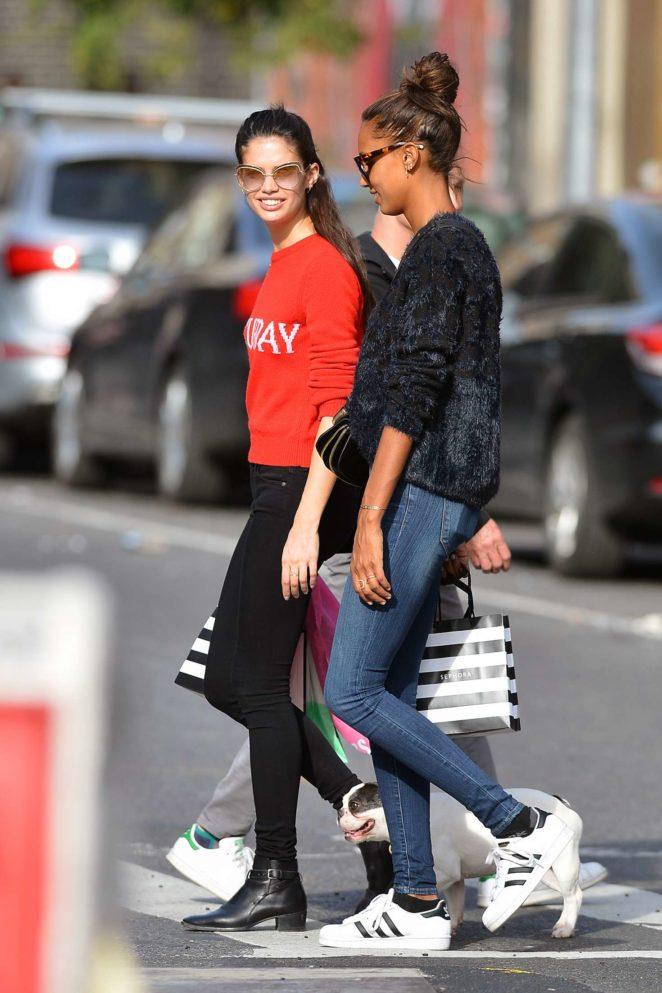 Sara Sampaio and Jasmine Tookes: Shopping in New York City -06
