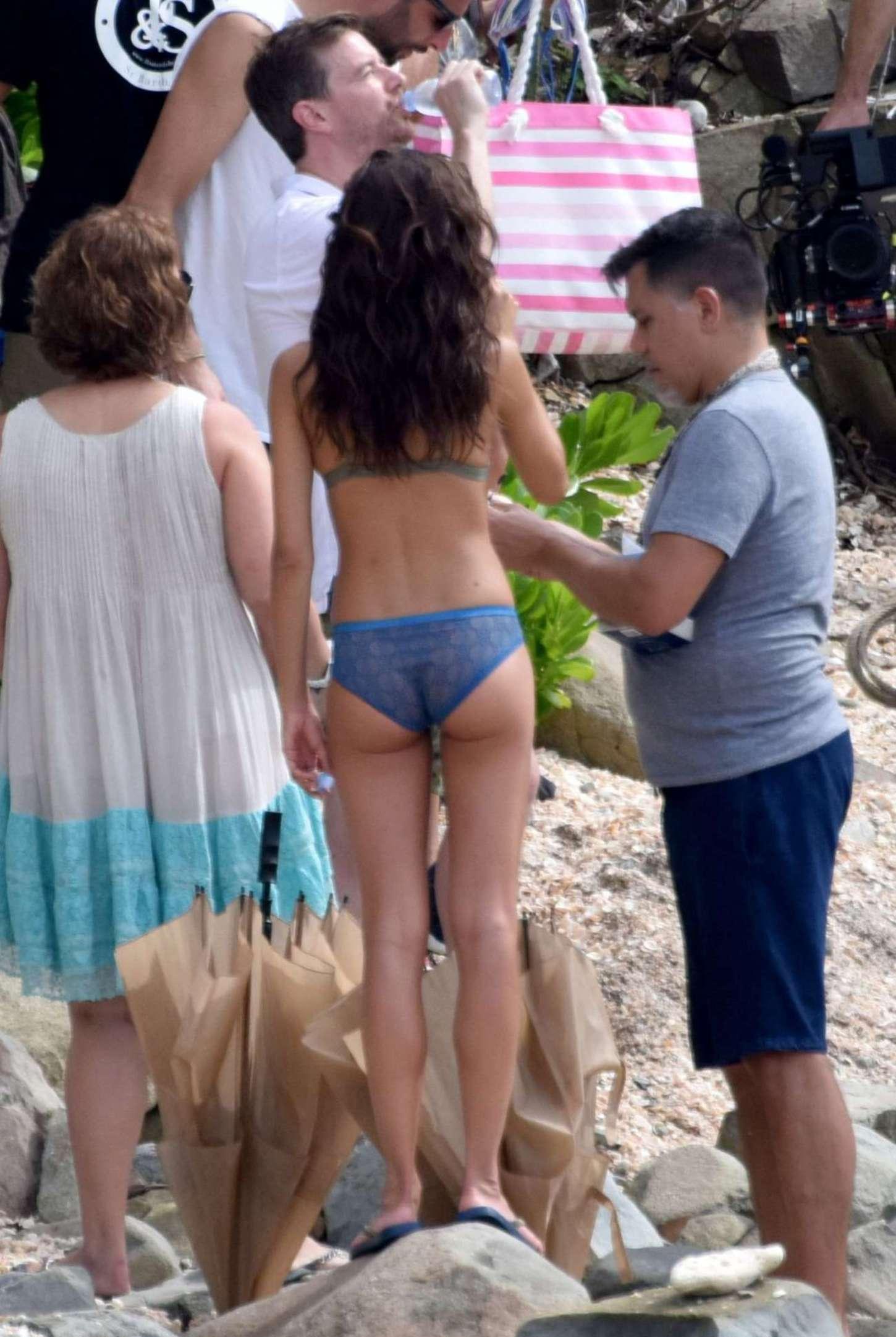 Sara Sampaio in Bikini For VS Photoshoot on the beach in St. Barts