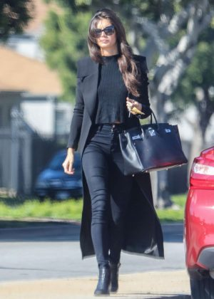Sara Sampaio in Black Long Coat out in Los Angeles