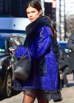 Sara Sampaio in Blue Jacket out in New York