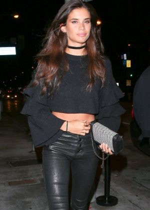 Sara Sampaio in Leather Pants at Catch LA in West Hollywood