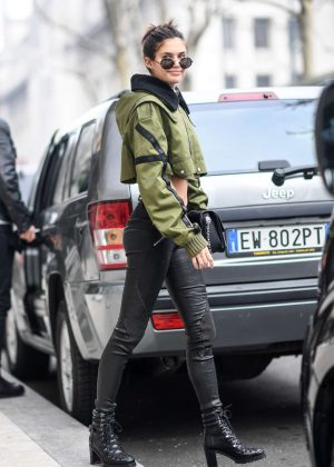 Sara Sampaio in Leather Pants out in Milan