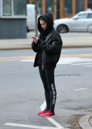 Sara Sampaio in Tights - Leaves Dogpound gym in NYC