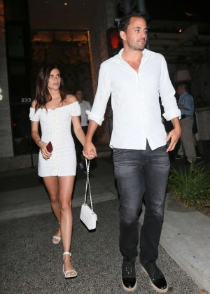Sara Sampaio in White Mini Dress - Leaving Avra restaurant in Beverly Hills