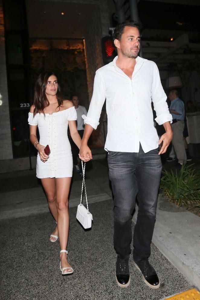 Sara Sampaio in White Mini Dress – Leaving Avra restaurant in Beverly Hills