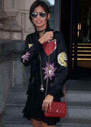 Sara Sampaio Leaves her hotel in Milan