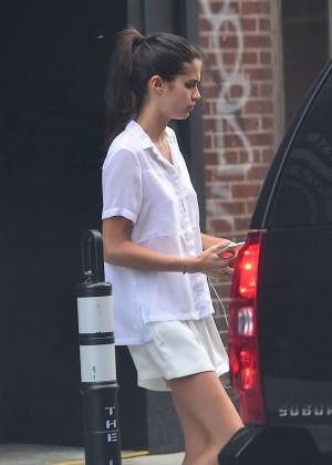 Sara Sampaio in Shorts Leaving her hotel in NYC