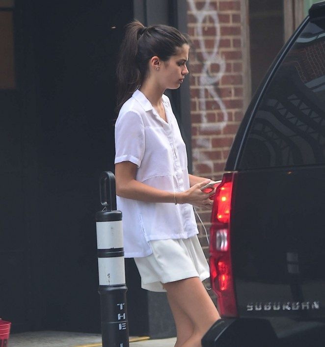 Sara Sampaio in Shorts Leaving her hotel in NYC