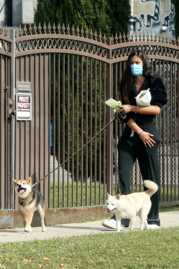 Sara Sampaio - Walk two of her dogs near her home in Los Angeles