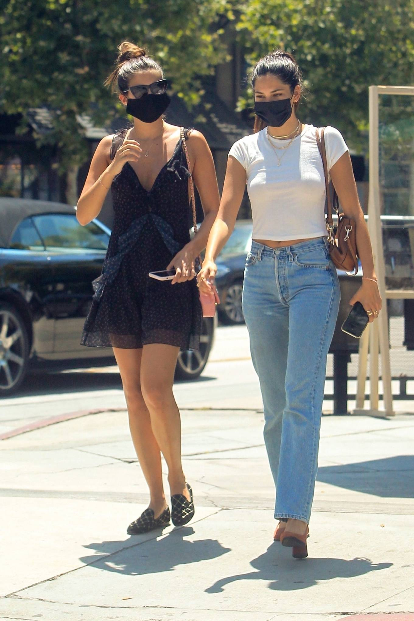Sara Sampaio with a friend at Urth Caffe Melrose in West Hollywood