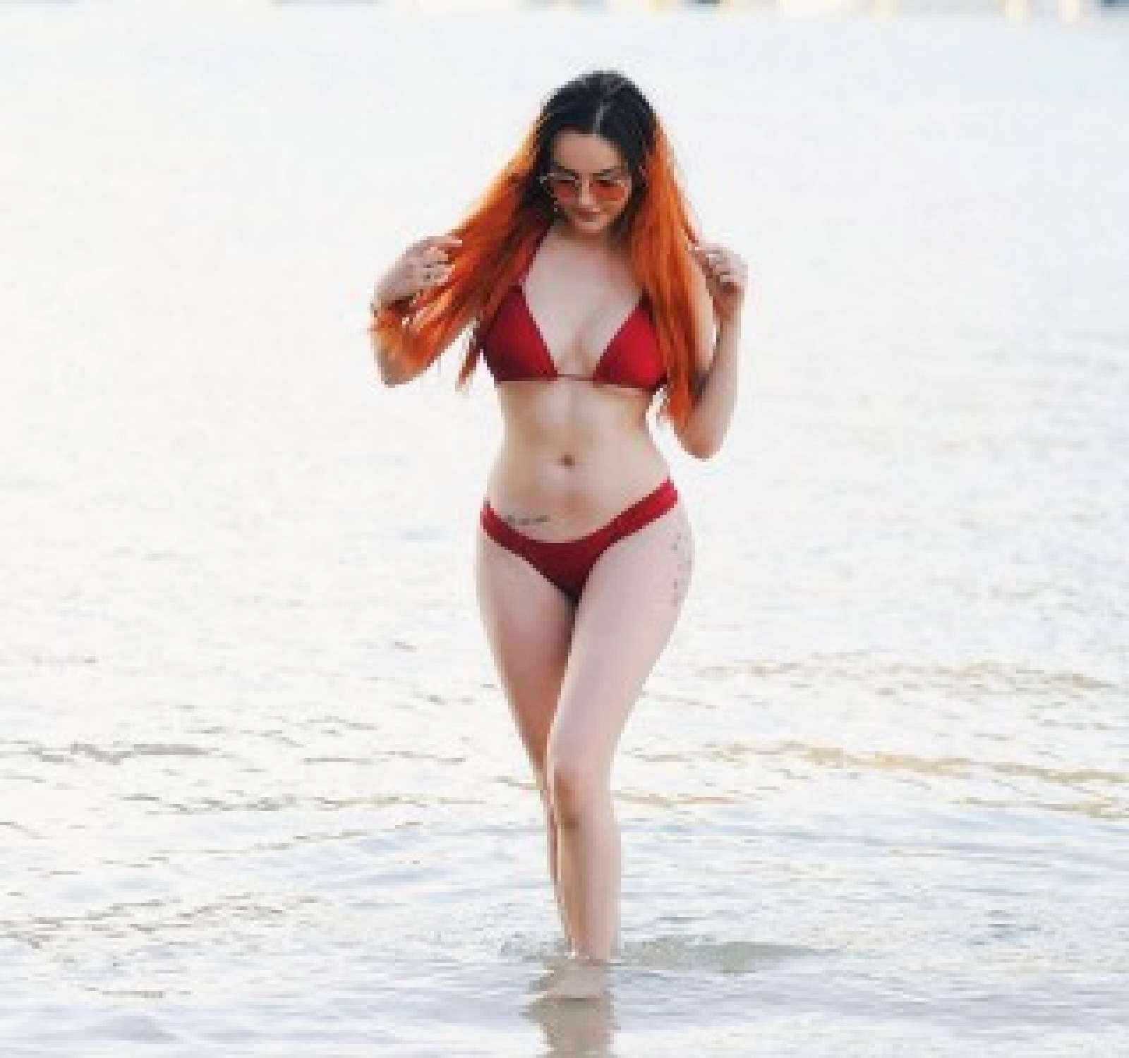 Sarah Goodhart in Red Bikini on the beach in Tenerife Pic 1 of 35