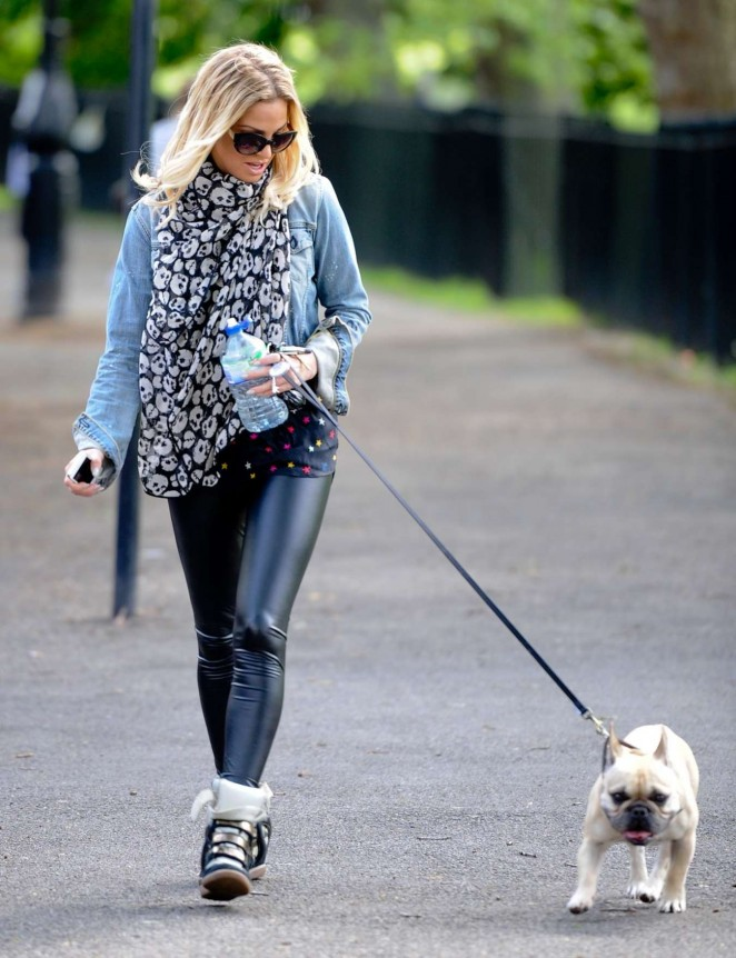 Sarah Harding in Leather out in Primrose Hill