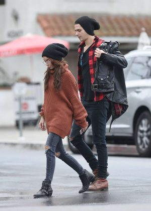 Sarah Hyland and Wells Adams at a cafe in Los Angeles