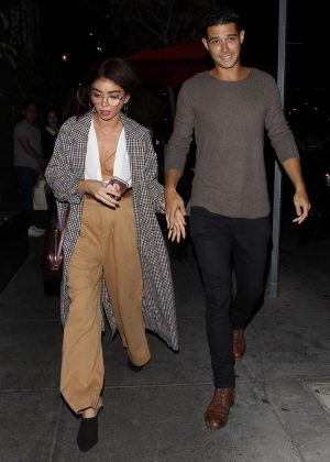 Sarah Hyland and Wells Adams at Beauty & Essex in Hollywood