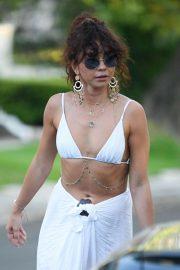 Sarah Hyland - In bikini top leaves a pool party in LA