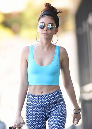 Sarah Hyland in Crop Top and Yoga Leggings - Leaves the gym in LA