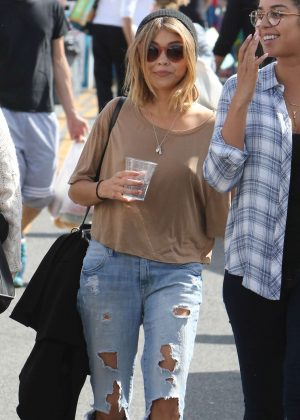 Sarah Hyland in Ripped Jeans out in Los Angeles