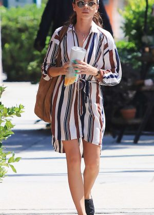 Sarah Hyland in Striped Shirt Dress - Leaving a Meditation Studio in Studio City