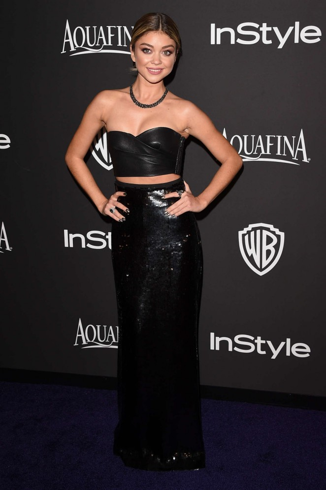 Sarah Hyland: 2015 InStyle And Warner Bros Golden Globes Party -01