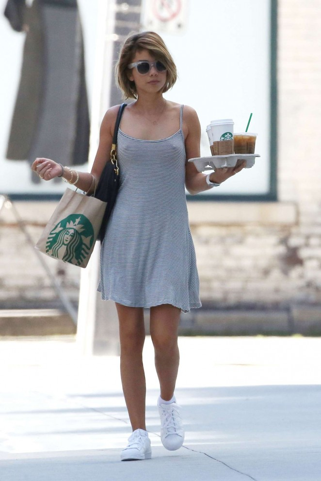 Sarah Hyland in Mini Dress out in Toronto