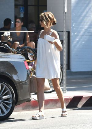 Sarah Hyland in White Dress Out for Breakfast in LA