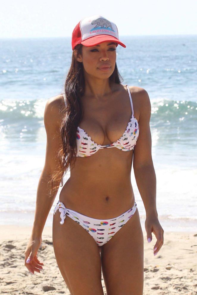Sarah-Jane Crawford in Bikini on the beach in Santa Monica