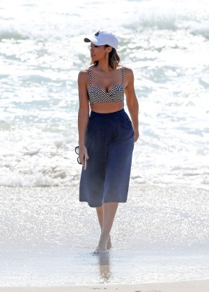 Sarah Jane Crawford in Bikini Top at the beach