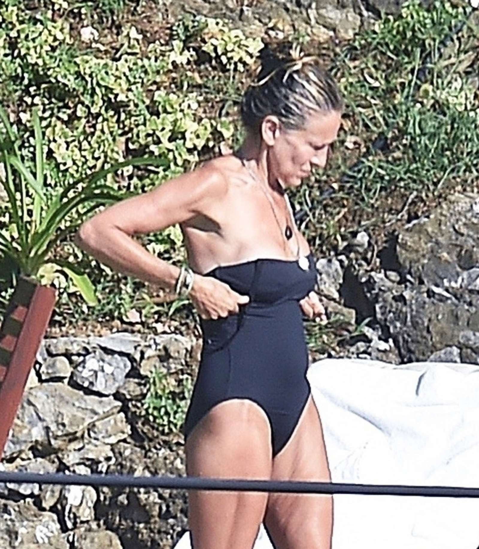 Sarah Jessica Parker in Black Swimsuit in Portofino