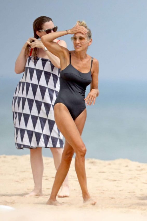 Sarah Jessica Parker in Blue Swimsuit 2019-11