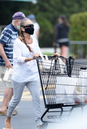 Sarah Jessica Parker - Shopping candids at a grocery store in Amagansett - New York