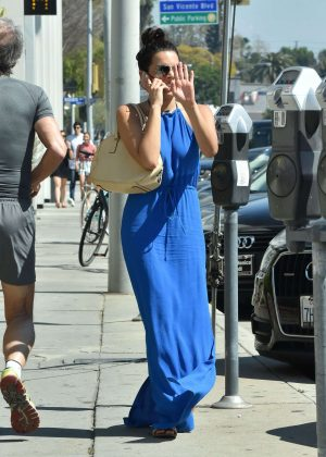Sarah Montes in Blue Long Dress out in West Hollywood