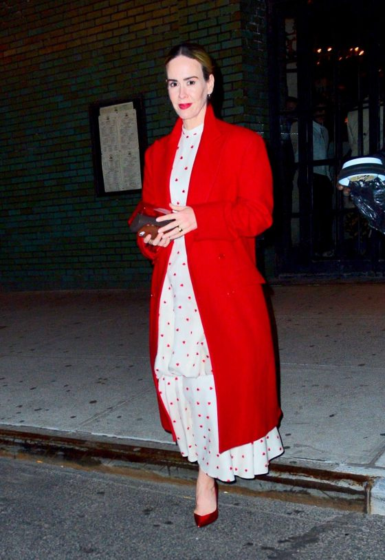 Sarah Paulson in Red Coat - Out in NYC