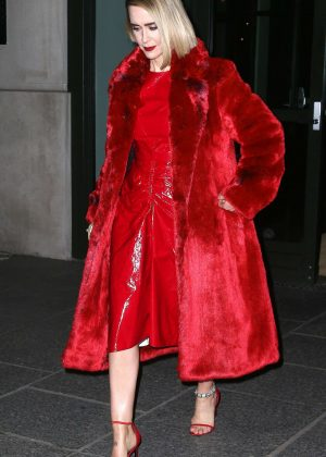 Sarah Paulson in Red - Leaves her hotel in New York