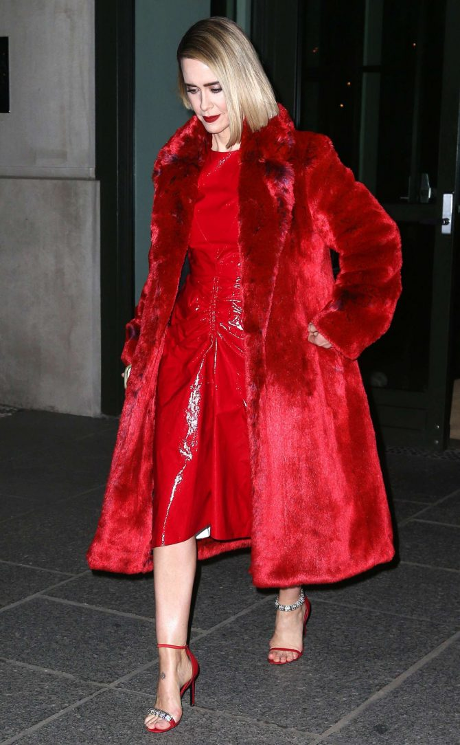 Sarah Paulson in Red – Leaves her hotel in New York