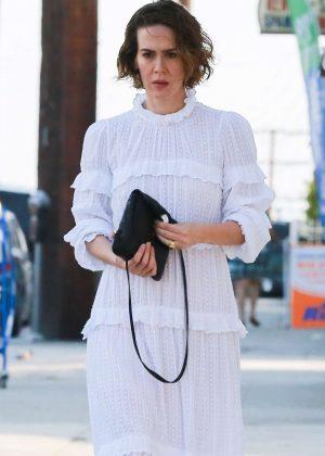 Sarah Paulson in White Dress in Loz Feliz