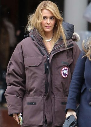 Sarah Paulson on the set of 'The Goldfinch' in NYC