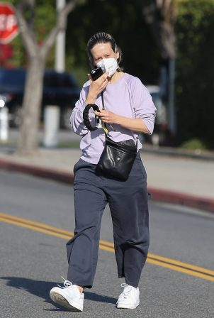 Sarah Paulson - Takes a break from filming American Horror Story Season 10 in Beverly Hills