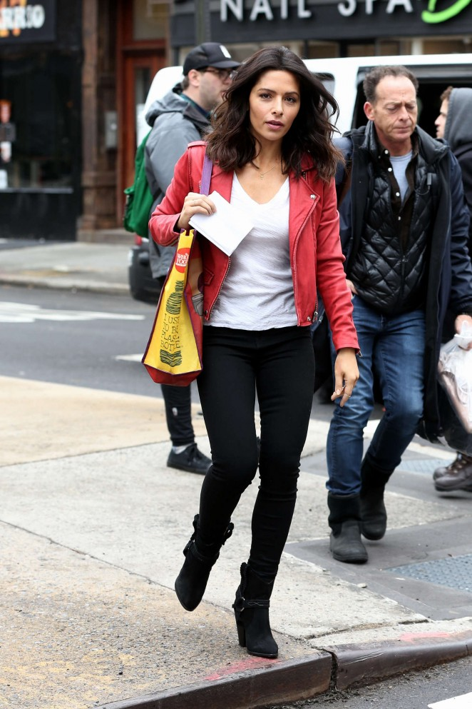 Sarah Shahi on the set of 'Drew' in NYC