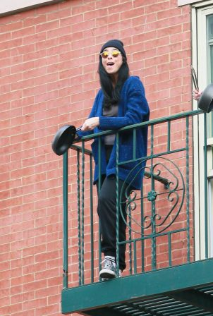Sarah Silverman - Cheers again for Essential Workers from her fire escape in NY