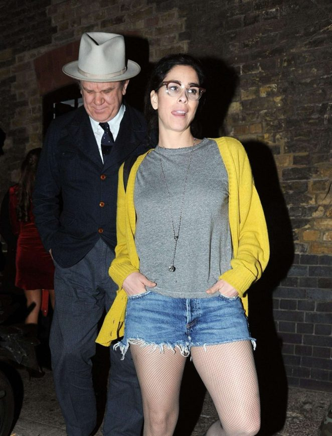 Sarah Silverman in Denim Shorts at Chiltern Firehouse in London