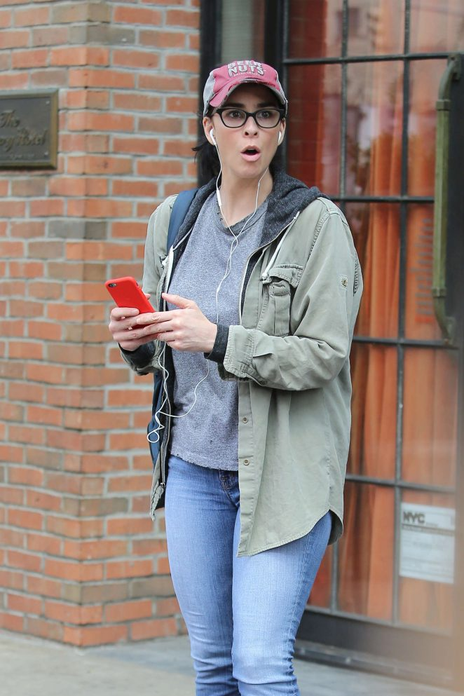 Sarah Silverman in Jeans Leaves Bowery Hotel in New York