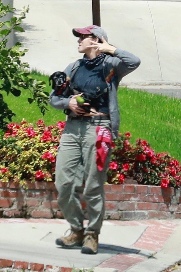 Sarah Silverman - walking her dog in her Los Feliz neighborhood