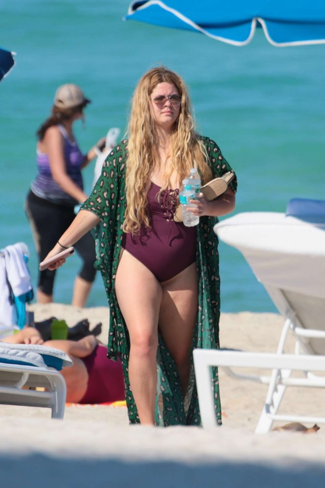 Sasha Pieterse in Purple Swimsuit at the beach in Miami