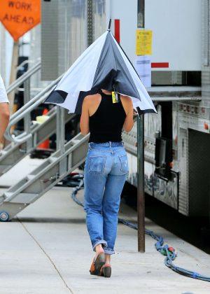 Scarlett Johansson - Arrives on the set of 'Rock Your Body' in New York City