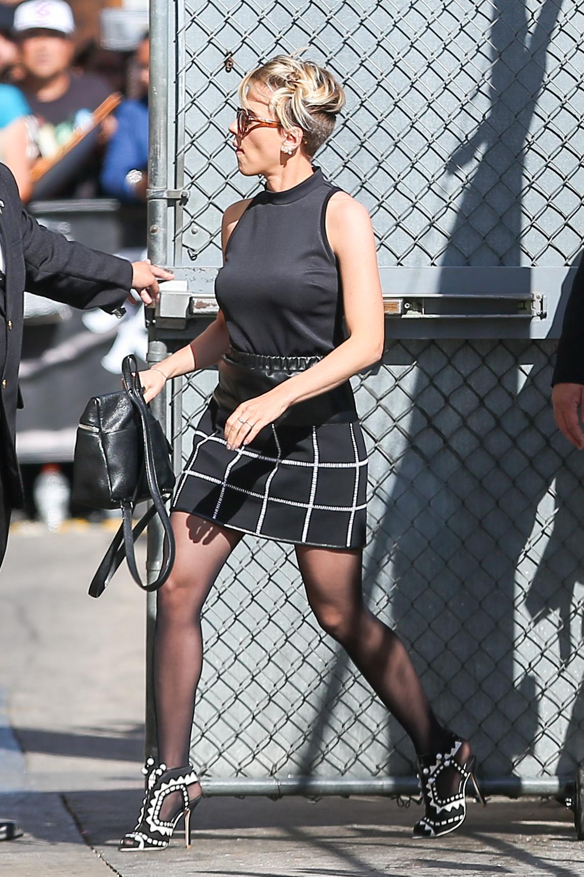Scarlett Johansson in Mini Skirt at Jimmy Kimmel Live -04